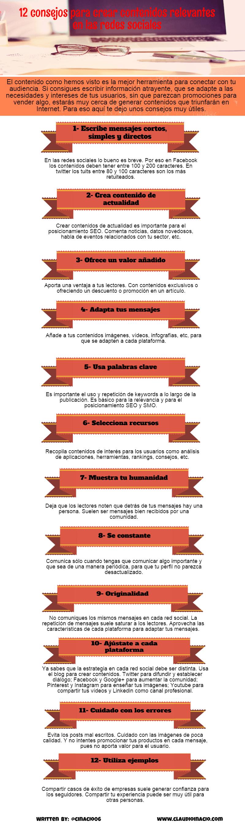 12 consejos para crear contenidos relevantes en las redes sociales.