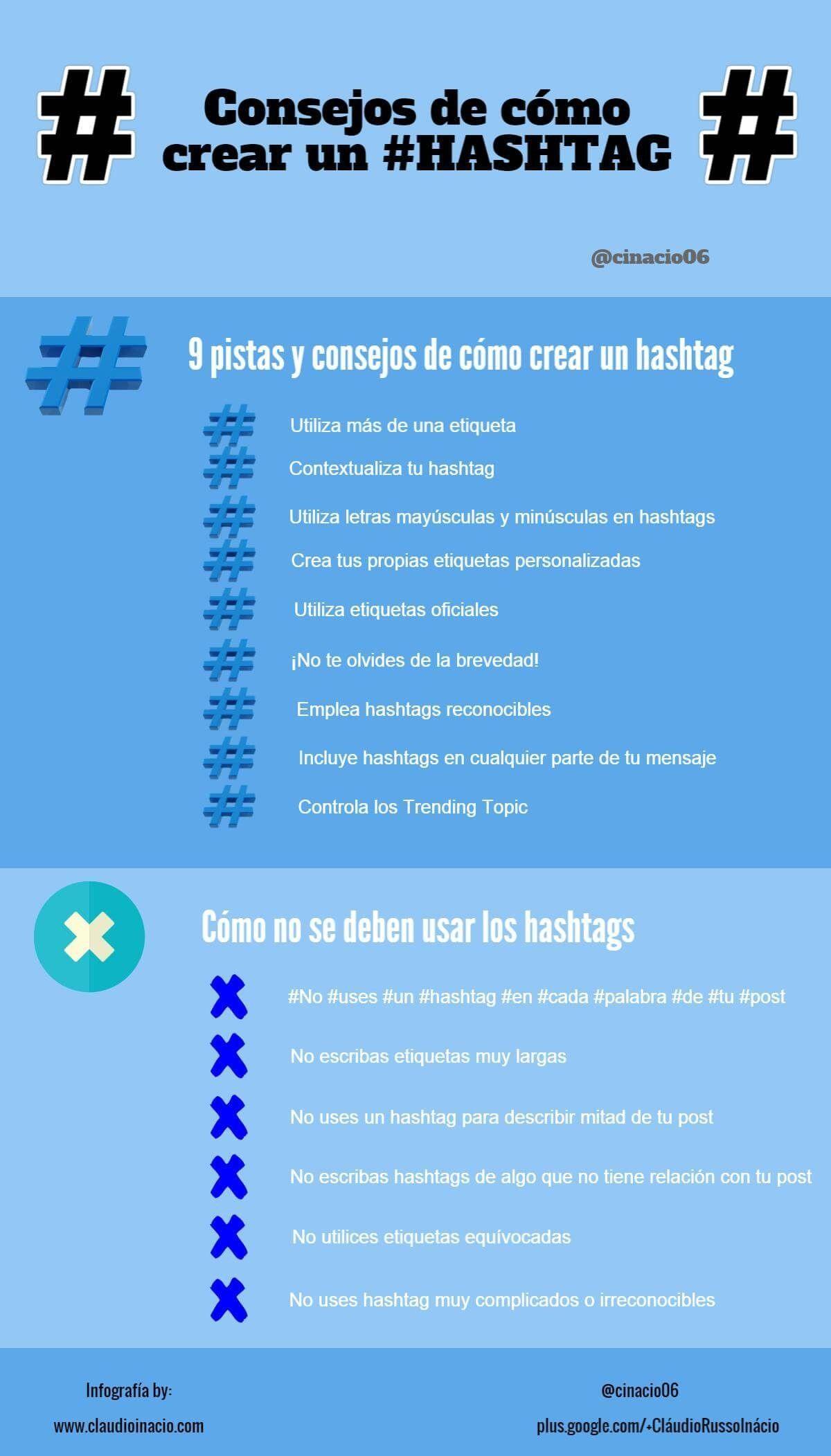 infografia con consejos de como crear hastags en diferentes redes sociales