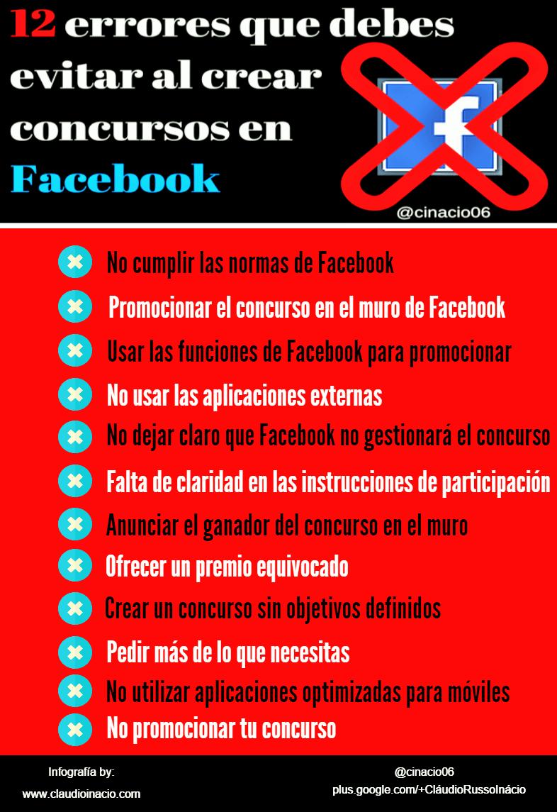 infografia errores concursos facebook