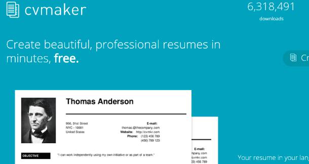 CV Maker plataforma para saber como hacer un currículum vitae online simples