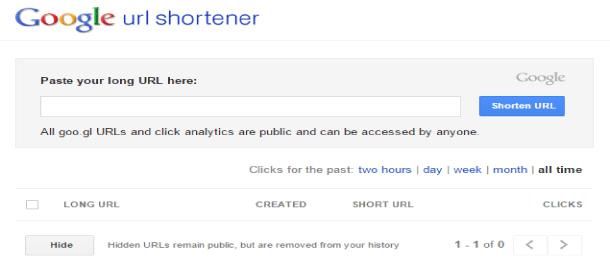 Google shortener URL acortador web