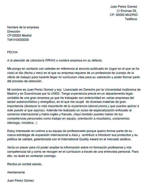 ejemplos de carta de presentacion - Ejemplo De Cover Letter
