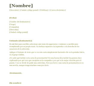 ejemplo word carta de presentacion