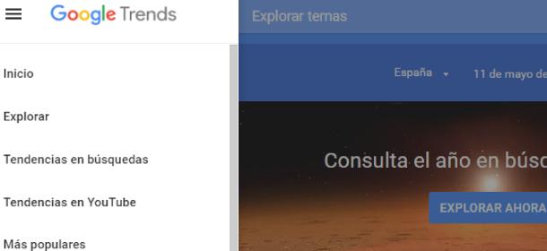 menu lateral Google Trends