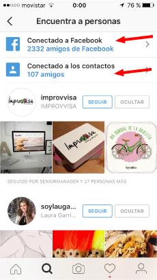 buscar contactos en otras redes desde Instragram