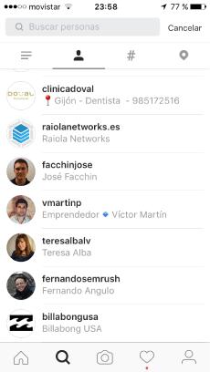 buscar y explorrar en Instragram