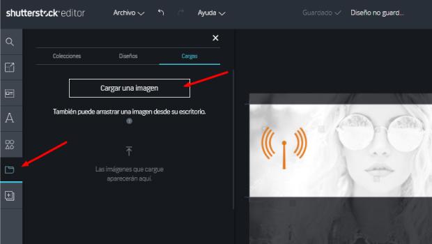 cargar imagen en editor shutterstock