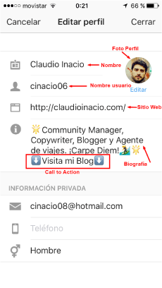 editar perfil en Instragram