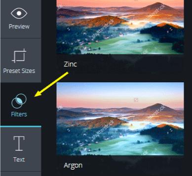 filtros del editor shutterstock