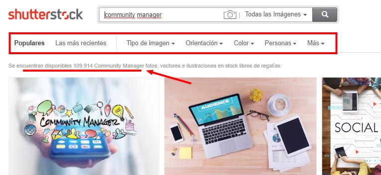 búsquedas de imágenes con Shutterstock