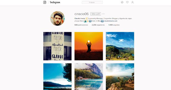 perfil de claudio en Instagram