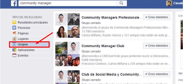seleccionar grupos facebook