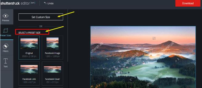 escoger tamaño imagen en editor shutterstock