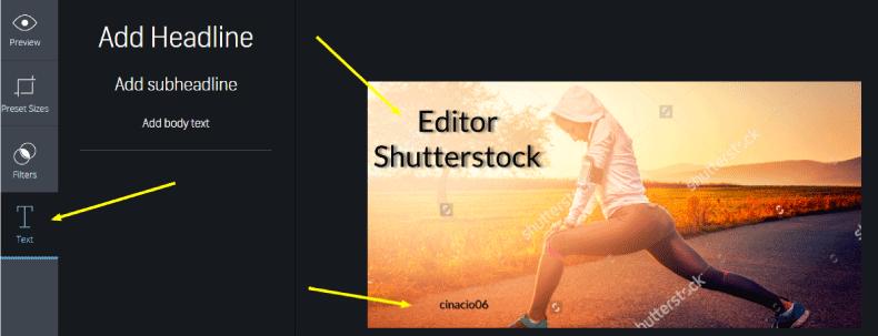 colocar texto en editor shutterstock
