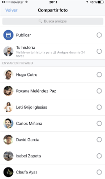 compartir facebook stories
