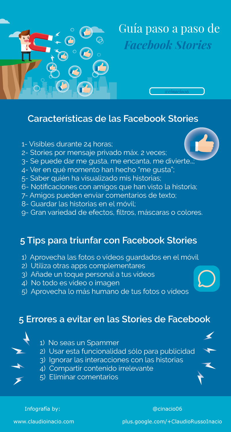 infografía guía de Facebook Stories