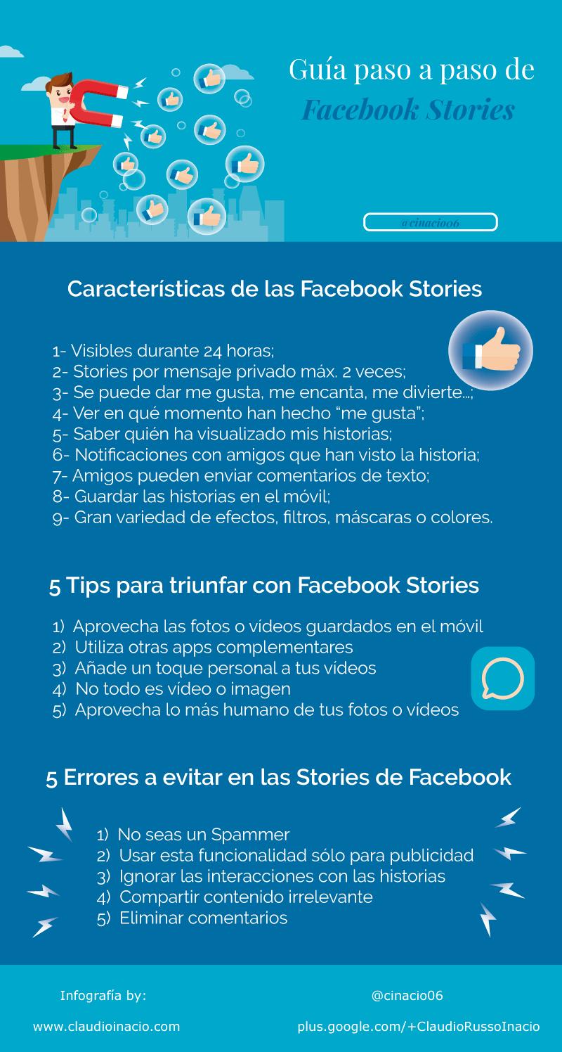 infografía guía de Facebook Stories