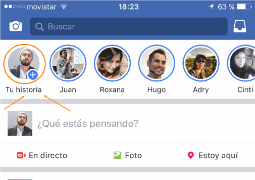 empezar las con las Facebook Stories