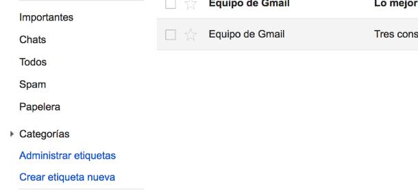 crear una cuenta Gmail - etiquetas