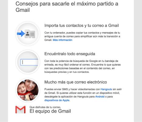 crear cuenta Gmail bienvenida a gmail