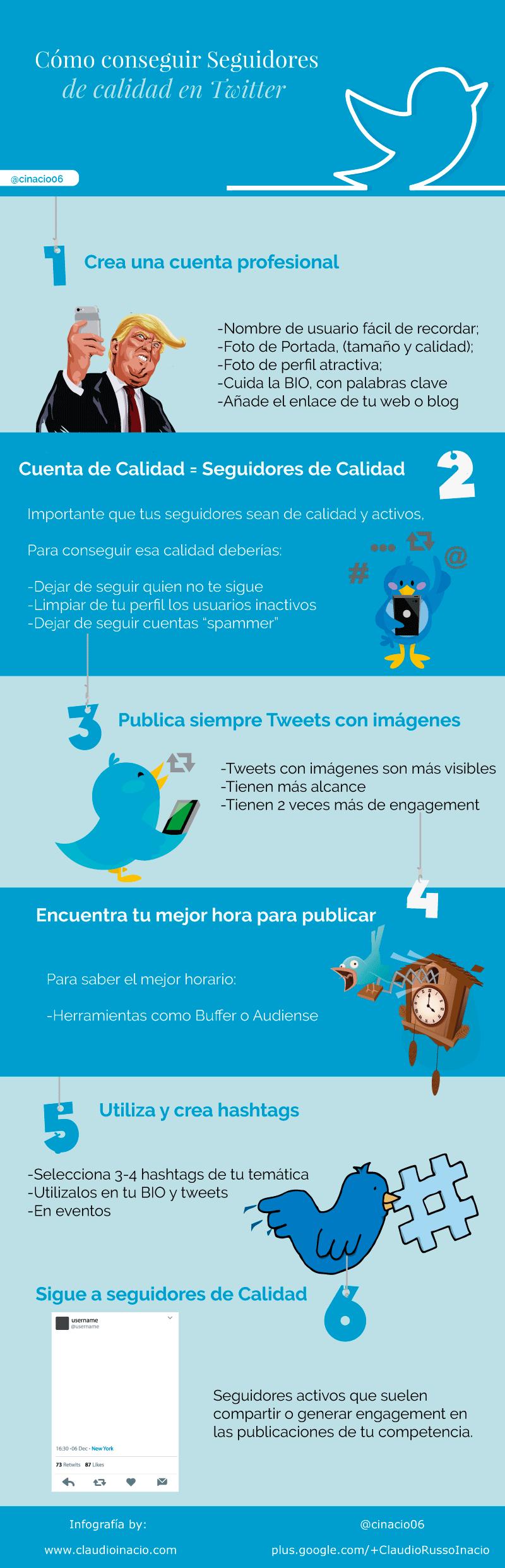 infografía como conseguir seguidores en Twitter