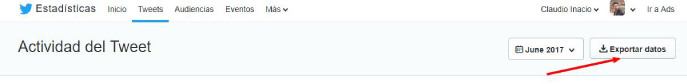 exportar datos en Twitter analytics