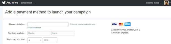 método de pago en campañas de Twitter ads