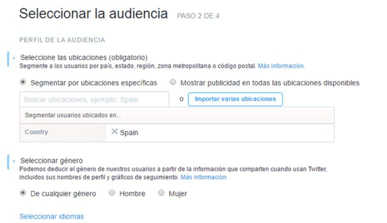 seleccionar la audiencia en twitter ads