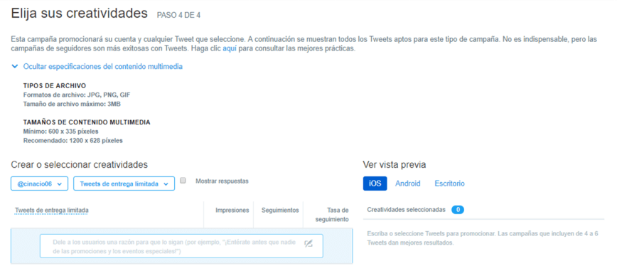 seleccionar las creatividad en publicidad de Twitter