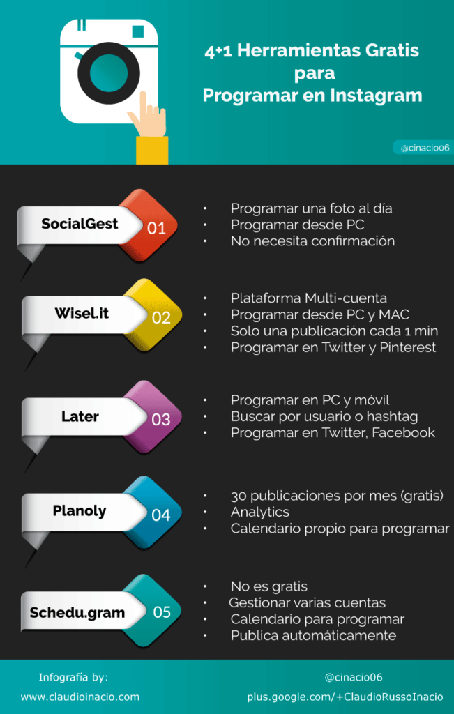 infografia herramientas gratis para programar en instagram