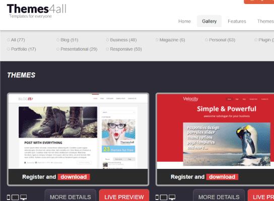 Themes4all sitio para descargar temas wordpress gratis responsive
