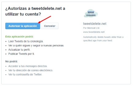 autorizar TweetDelete a eliminar tweets