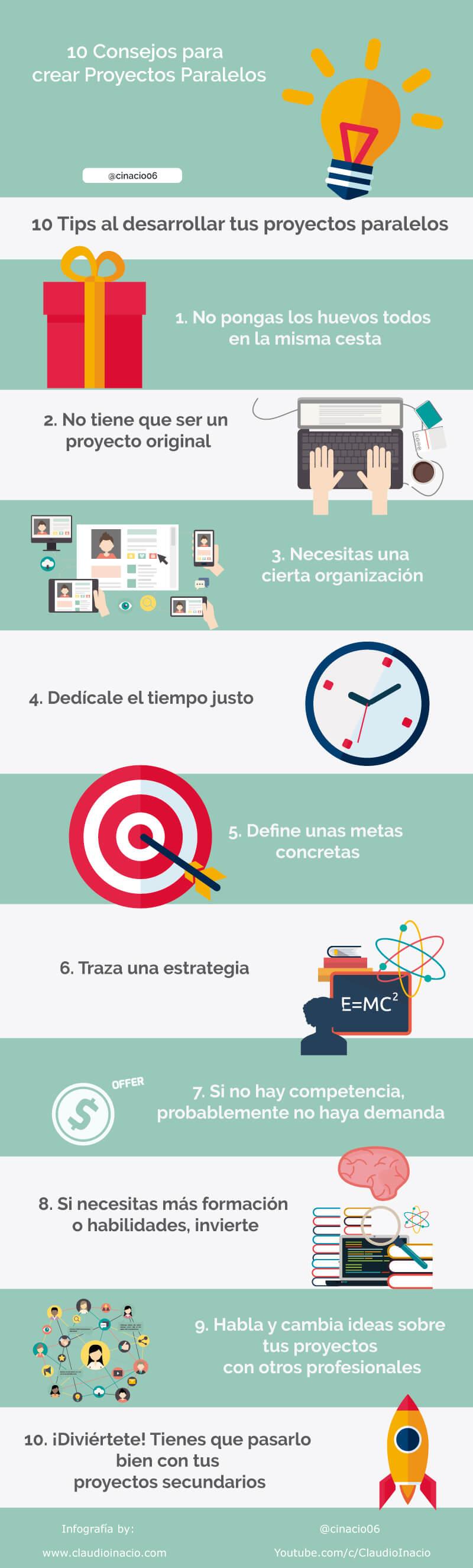 infografía de cómo crear proyectos paralelos con 10 consejos