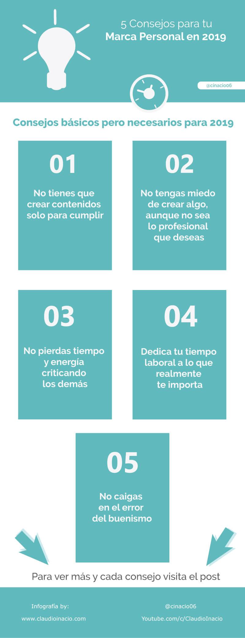 Infografia con 5 consejos Marca Personal en 2019 reales y valiosos