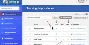 Tracking de posiciones por herramienta DinoRANK