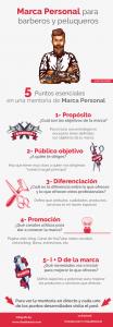 Infografia de puntos claves en una mentoria de marca personal para barberos y peluqueros