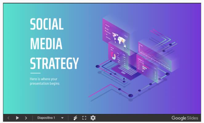 slidesgo presentaciones de Google social media plantilla
