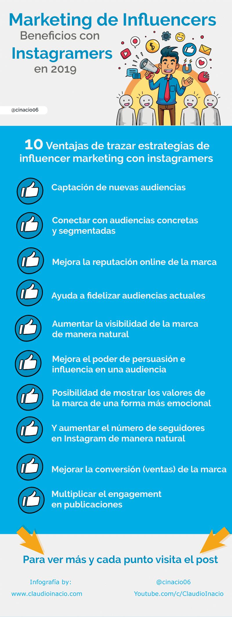 infografias con ventajas del marketing de influencers en instagram con estrategias de influencer marketing con instagramers