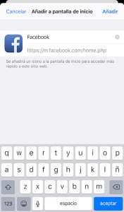 guardar página en móvil para acceder a facebook
