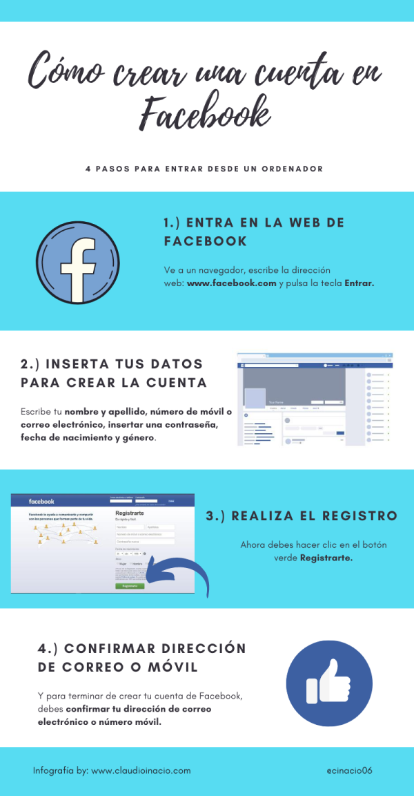 infografia para crear una cuenta en facebook desde el ordenador