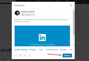 botón para publicar contenido en linkedin