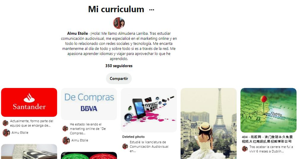 ejemplo de curriculum social en Pinterest