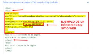 ejemplo de insertar el código en un sitio web
