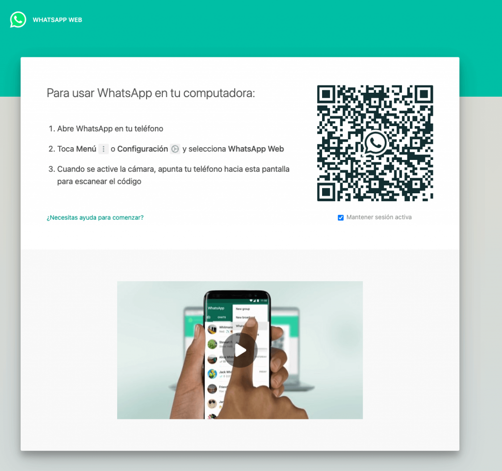 ejemplo de pantallazo de como iniciar sesión en whatsapp web