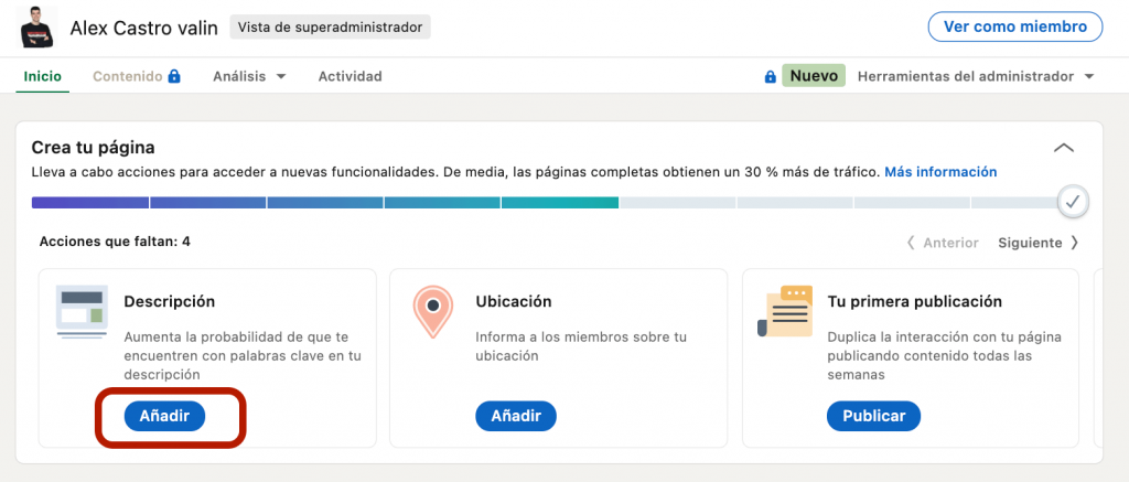 configurar la descripcion de linkedin business