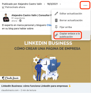 paso uno para compartir un post de linkedin business en un grupo de linkedin