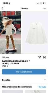 Zara ejemplo de Instagram Shopping España