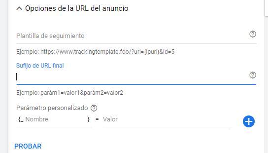 Opciones de la URL del anuncio