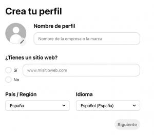 configurar perfil de empresa pinterest