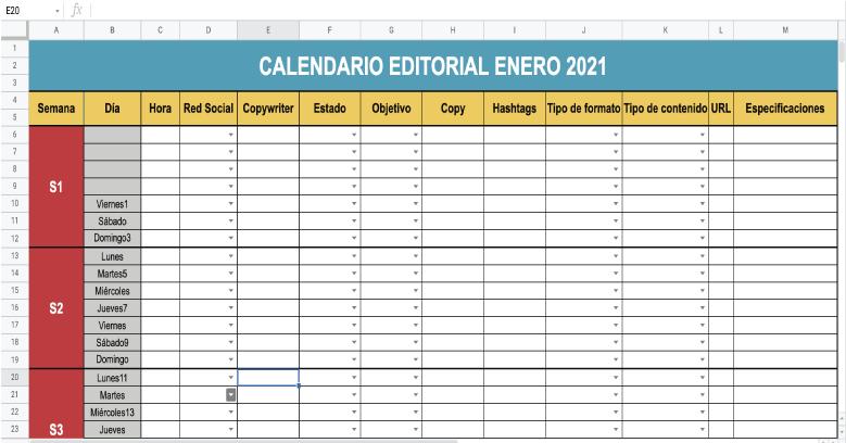 Calendario editorial para tu plan de medios ejemplo